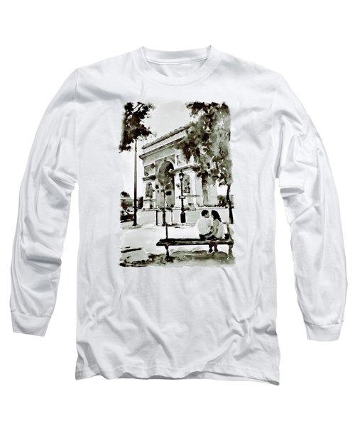 The Arc De Triomphe Paris Black And White Long Sleeve T-Shirt by Marian Voicu