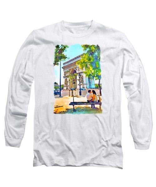 The Arc De Triomphe Paris Long Sleeve T-Shirt by Marian Voicu
