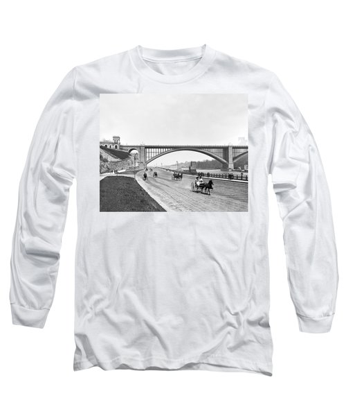 The Harlem River Speedway Long Sleeve T-Shirt by William Henry jackson