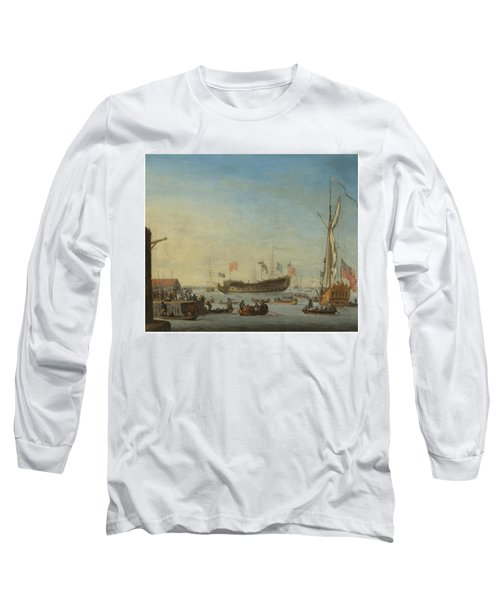 The Launch Of A Man Of War Long Sleeve T-Shirt by Robert Woodcock