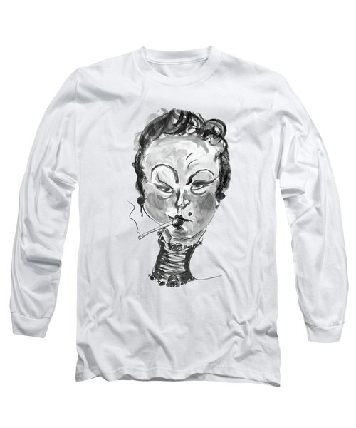 The Smoker - Black And White Long Sleeve T-Shirt by Marian Voicu