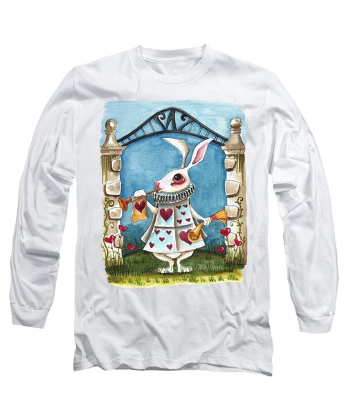 The White Rabbit Announcing Long Sleeve T-Shirt by Lucia Stewart