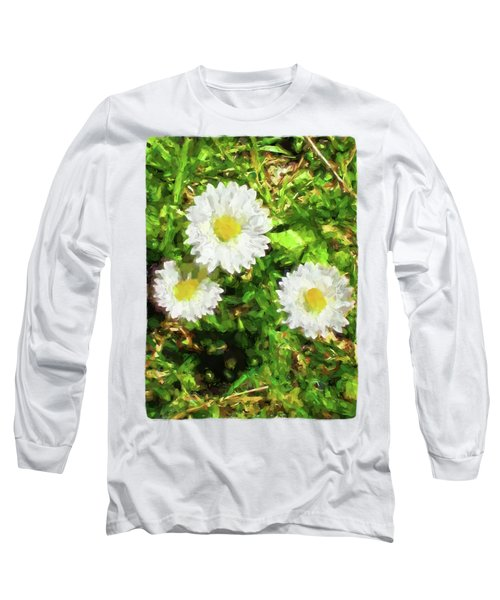 Three Daisies In The Sun Long Sleeve T-Shirt by Jackie VanO