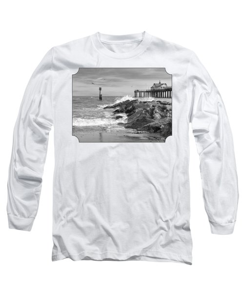 Tide's Turning - Black And White - Southwold Pier Long Sleeve T-Shirt by Gill Billington