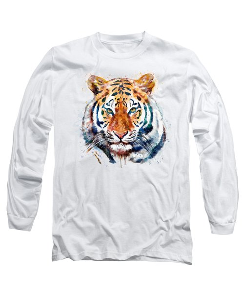 Tiger Head Watercolor Long Sleeve T-Shirt by Marian Voicu