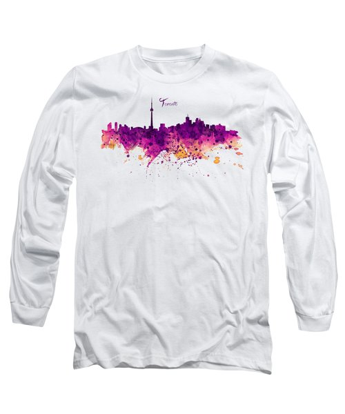 Toronto Watercolor Skyline Long Sleeve T-Shirt by Marian Voicu