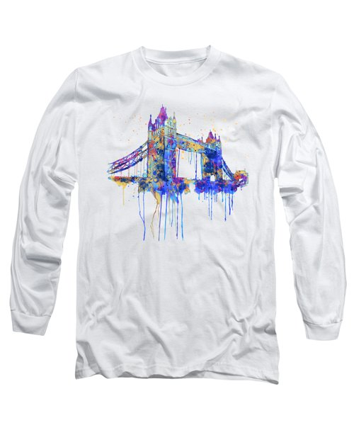 Tower Bridge Watercolor Long Sleeve T-Shirt by Marian Voicu
