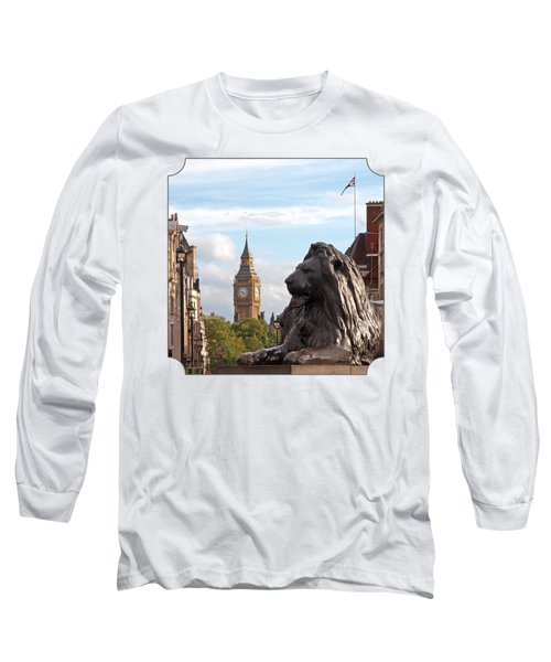 Trafalgar Square Lion With Big Ben Long Sleeve T-Shirt by Gill Billington