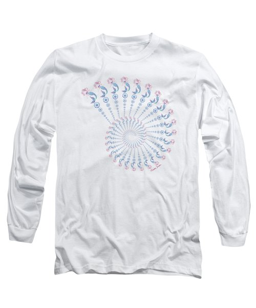 Tribal Mermaid Spiral Shell Long Sleeve T-Shirt by Heather Schaefer