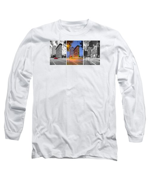 Triptych Of The Flatiron Building In Downtown Fort Worth - Texas  Long Sleeve T-Shirt by Silvio Ligutti