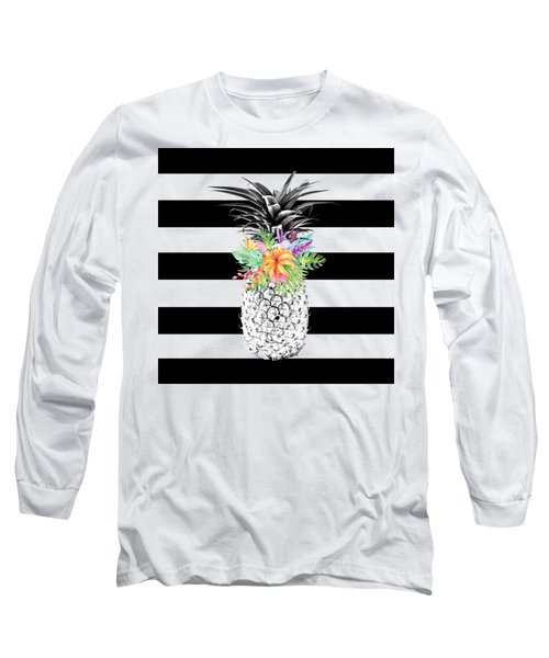 Tropical Flower Pineapple Black And White Stripes Long Sleeve T-Shirt by Dushi Designs