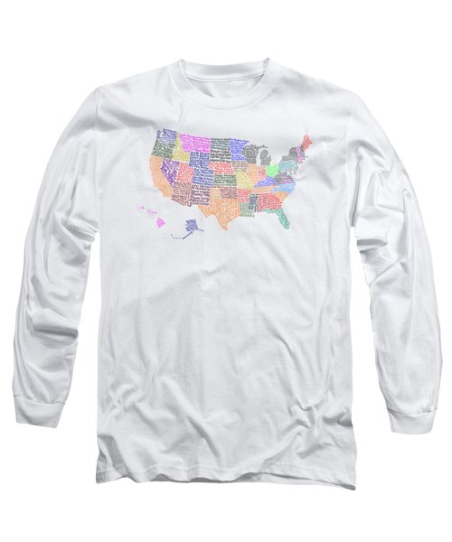 United States Musicians Map Long Sleeve T-Shirt by Trudy Clementine