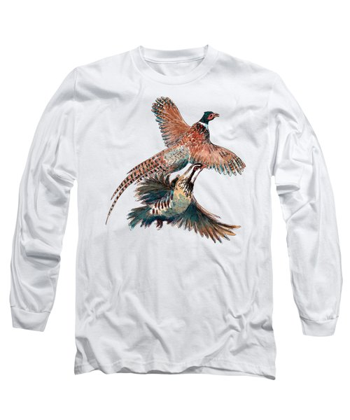 Up And Away Partridge And Pheasant Long Sleeve T-Shirt by Richard Skilton