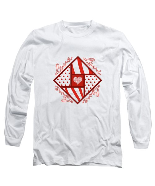 Valentine 4 Square Quilt Block Long Sleeve T-Shirt by Methune Hively