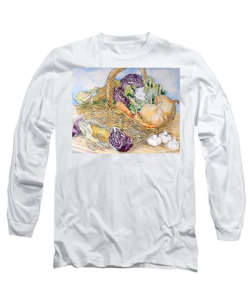 Vegetables In A Basket Long Sleeve T-Shirt by Joan Thewsey