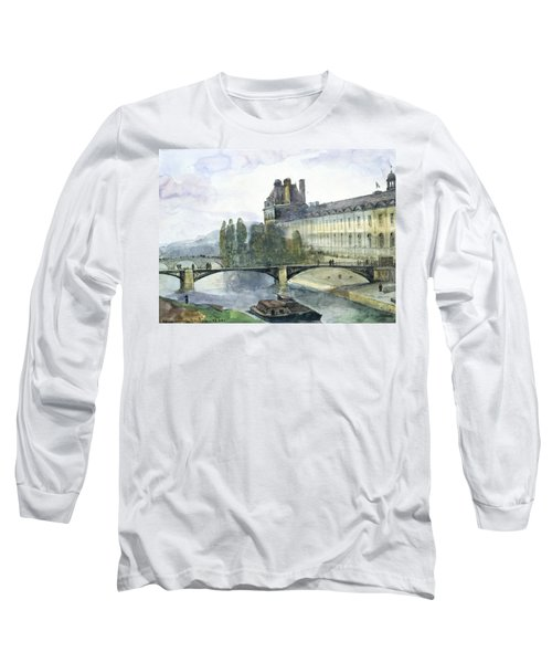 View Of The Pavillon De Flore Of The Louvre Long Sleeve T-Shirt by Francois-Marius Granet