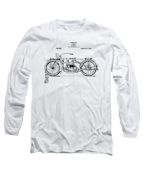 Vintage Harley-davidson Motorcycle 1919 Patent Artwork Long Sleeve T-Shirt by Nikki Smith