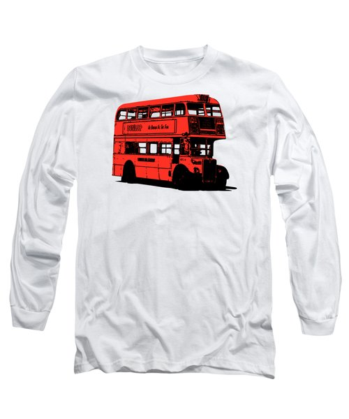 Vintage Red Double Decker London Bus Tee Long Sleeve T-Shirt by Edward Fielding