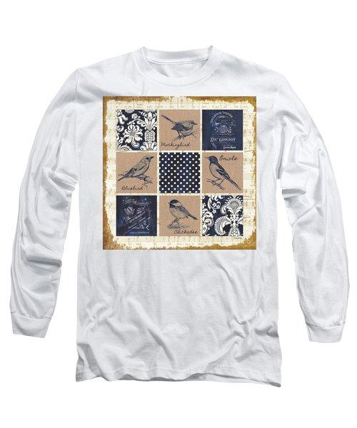 Vintage Songbird Patch 2 Long Sleeve T-Shirt by Debbie DeWitt