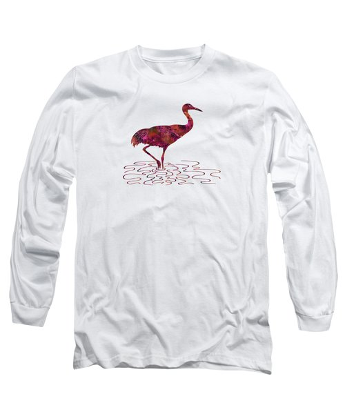 Colorful Sandhill Crane Silhouette Long Sleeve T-Shirt by Shara Lee