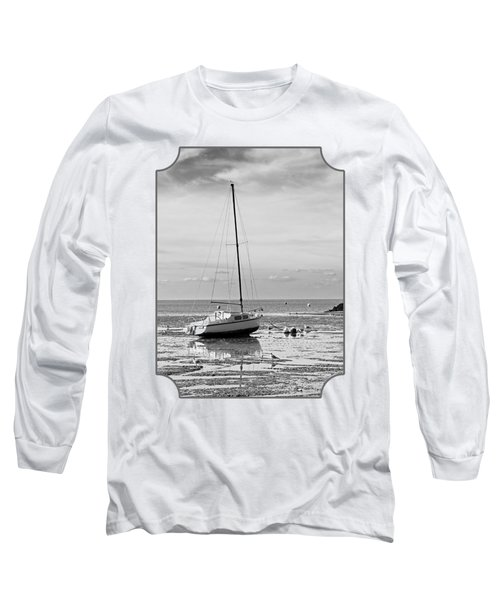 Waiting For High Tide Black And White Long Sleeve T-Shirt by Gill Billington