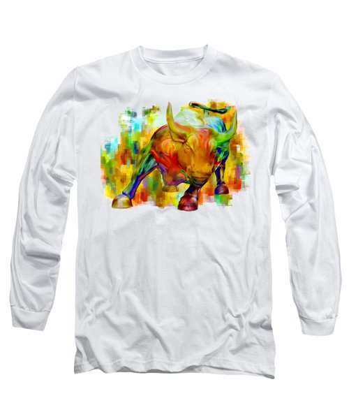 Wall Street Bull Long Sleeve T-Shirt by Jack Zulli