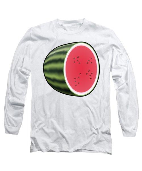 Water Melon Outlined Long Sleeve T-Shirt by Miroslav Nemecek