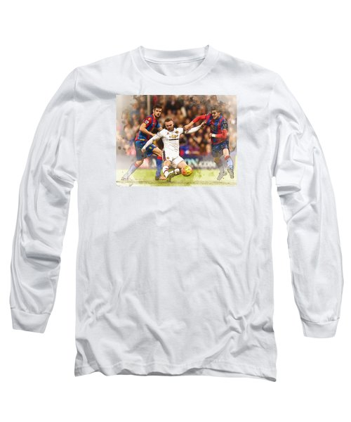 Wayne Rooney Shoots At Goal Long Sleeve T-Shirt by Don Kuing