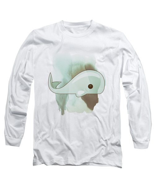 Whale Art - Bright Ocean Life Pastel Color Artwork Long Sleeve T-Shirt by Wall Art Prints