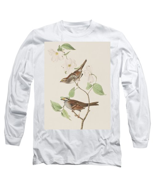White Throated Sparrow Long Sleeve T-Shirt by John James Audubon