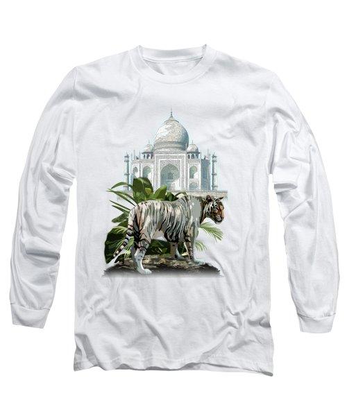 White Tiger And The Taj Mahal Image Of Beauty Long Sleeve T-Shirt by Regina Femrite