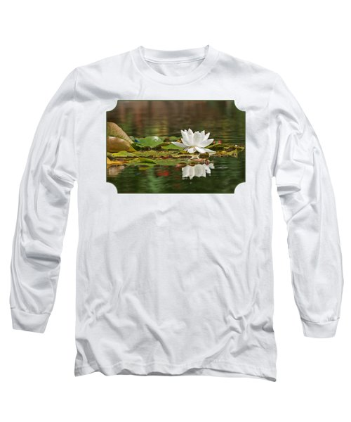 White Water Lily With Damselflies Long Sleeve T-Shirt by Gill Billington