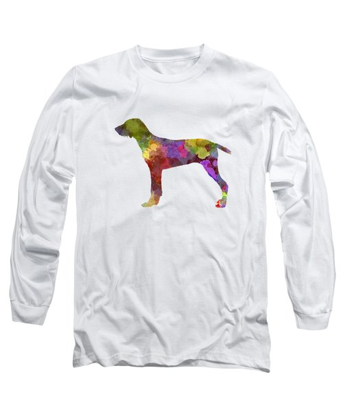 Wirehaired Slovakian Pointer In Watercolor Long Sleeve T-Shirt by Pablo Romero