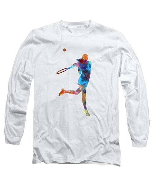 Woman Tennis Player 03 In Watercolor Long Sleeve T-Shirt by Pablo Romero