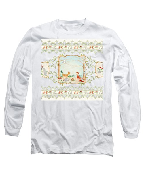 Woodland Fairy Tale - Aqua Blue Forest Gathering Of Woodland Animals Long Sleeve T-Shirt by Audrey Jeanne Roberts