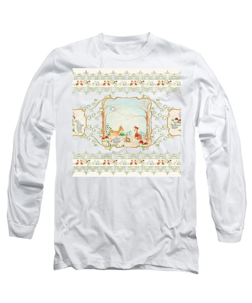 Woodland Fairy Tale - Blush Pink Forest Gathering Of Woodland Animals Long Sleeve T-Shirt by Audrey Jeanne Roberts