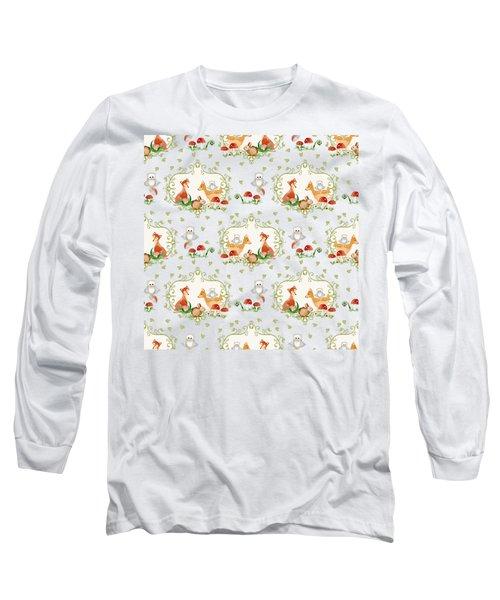 Woodland Fairy Tale - Sweet Animals Fox Deer Rabbit Owl - Half Drop Repeat Long Sleeve T-Shirt by Audrey Jeanne Roberts