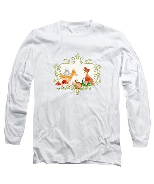 Woodland Fairytale - Grey Animals Deer Owl Fox Bunny N Mushrooms Long Sleeve T-Shirt by Audrey Jeanne Roberts