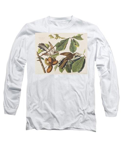 Yellow Billed Cuckoo Long Sleeve T-Shirt by John James Audubon