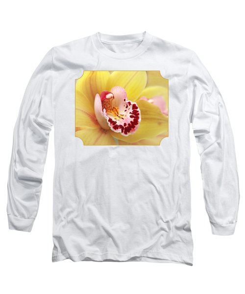 Yellow Cymbidium Orchid Long Sleeve T-Shirt by Gill Billington