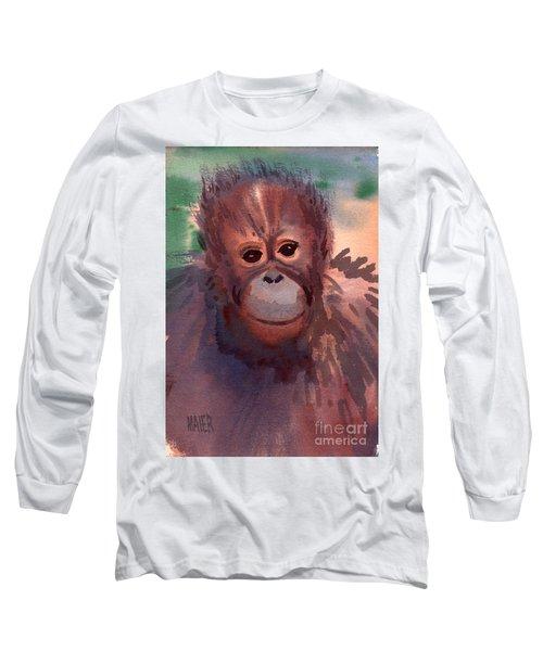 Young Orangutan Long Sleeve T-Shirt by Donald Maier