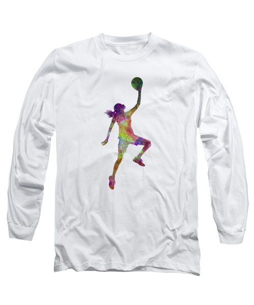 Young Woman Basketball Player 02 In Watercolor Long Sleeve T-Shirt by Pablo Romero