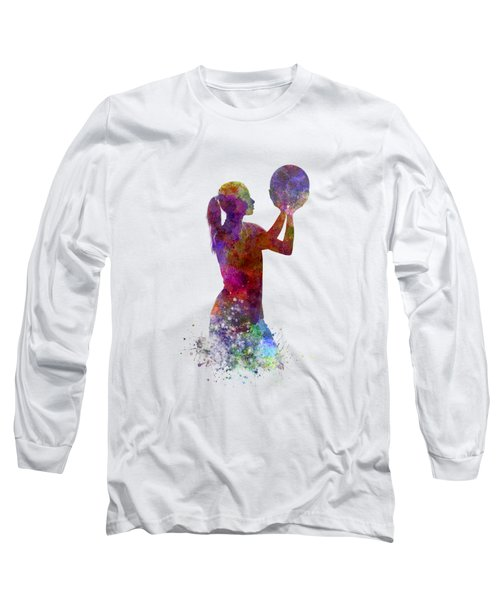 Young Woman Basketball Player 03 In Watercolor Long Sleeve T-Shirt by Pablo Romero