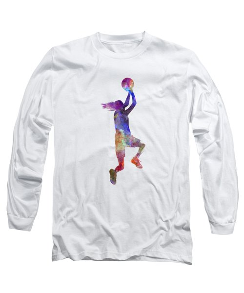 Young Woman Basketball Player 05 In Watercolor Long Sleeve T-Shirt by Pablo Romero