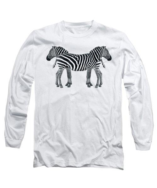 Zebra Pair On Black Long Sleeve T-Shirt by Gill Billington