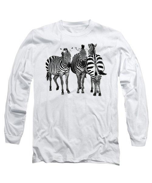 Zebra - Three's A Crowd Long Sleeve T-Shirt by Gill Billington
