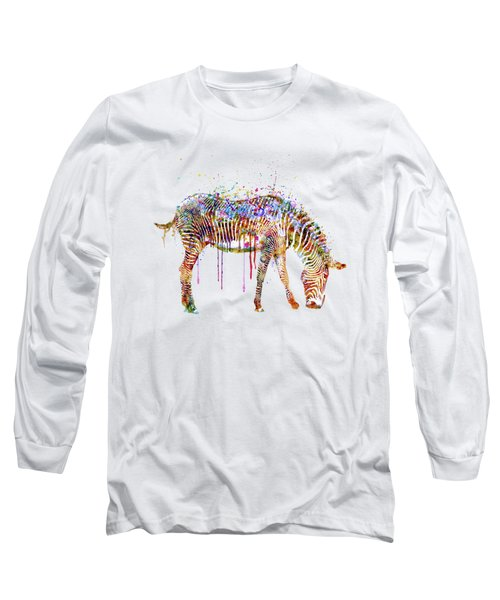 Zebra Watercolor Painting Long Sleeve T-Shirt by Marian Voicu