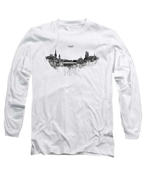 Zurich Black And White Skyline Long Sleeve T-Shirt by Marian Voicu