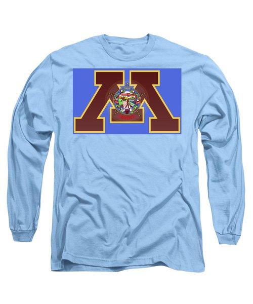 U Of M Minnesota State Flag Long Sleeve T-Shirt by Daniel Hagerman