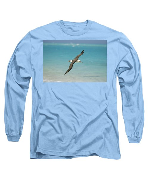 Laysan Albatross Flying Midway Atoll Long Sleeve T-Shirt by Tui De Roy